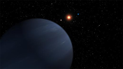 This artist's concept shows four of the five planets that orbit 55 Cancri, a star much like our own. The most recently discovered planet, and the fourth out from the star, looms large in the foreground. It is at least 45 times the mass of Earth, or half the mass of Saturn, and it orbits the star every 260 days. The system's three known inner planets can be seen in the background around the glowing star, while its most distant planet is not pictured. Fifty-five Cancri has produced a larger number of massive planets than our solar system. The colors of the planets in this illustration were chosen to resemble those of our own solar system. Astronomers do not know what the planets look like. Image credit: NASA/JPL-Caltech