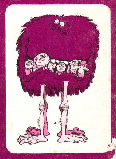 A monster cut-out trading card drawn by Perogatt (Carlo Peroni) from the back cover of the first issue of the italian comic magazine Psyco, 1970.