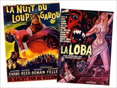 Posters from La Nuit do Loup Garou (Curse of the Werewolf) and La Loba
