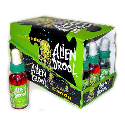 Alien Drool: Extreme sour liquid goo candy in a drippy dropper! This is a green sour liquid candy that is squeezed out of eye droppers. Each dropper is 1 oz.