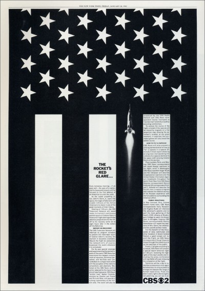 Newspaper ad designed by Lou Dorfsman from 1962 showcasing the CBS News coverage of the John Glenn space flight.