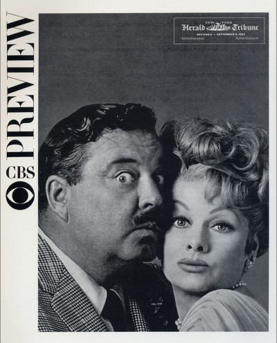 Cover of a newspaper advertorial designed by Lou Dorfsman from 1962 which introduced the new fall schedule which included comedy greats Jackie Gleason and Lucille Ball.