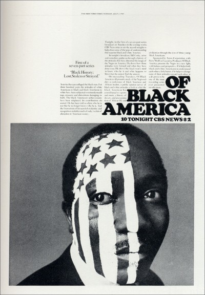 Newspaper ad designed by Lou Dorfsman from 1968 for a series on black history.