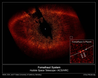 Astronomers using NASA's Hubble Space Telescope have taken the first visible-light snapshot of a planet orbiting another star. The images show the planet, named Fomalhaut b, as a tiny point source of light orbiting the nearby, bright southern star Fomalhaut, located 25 light-years away in the constellation Piscis Australis. An immense debris disk about 21.5 billion miles across surrounds the star. Fomalhaut b is orbiting 1.8 billion miles inside the disk's sharp inner edge.