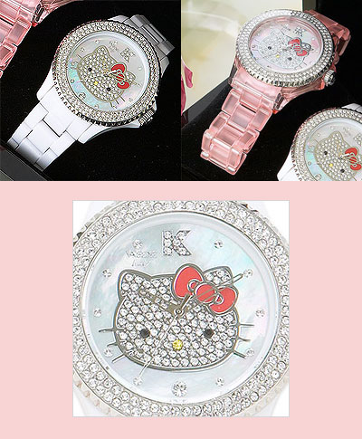 The 2009 Hello Kitty collector edition Swarovski crystal encrusted watches have arrived. These pink and white wristwatches are designed in Italy by Vabene and manufactured in Japan by Citizen. Citizen's quality is high and the Swarovski crystals shine. Cheaper than the $3000 Neiman Marcus diamond-crusted Hello Kitty watch, still very well done, and makes a great present... to yourself.