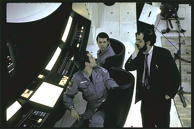 2001: A Space Odyssey - (L-R) Actors Keir Dullea & Gary Lockwood listening to director Stanley Kubrick on set of motion picture 2001: A Space Odyssey. 1968 photo by Dmitri Kessel