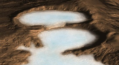 Artist concept of glacier on Mars. Image credit: NASA/JPL