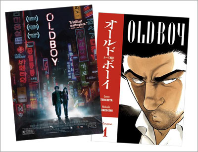Oldboy: Poster of the Korean film 올드보이 of the left and cover of the Japanese manga オールド・ボーイ on the right