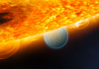This is an artist's impression of the Jupiter-size extrasolar planet, HD 189733b, being eclipsed by its parent star. Astronomers using the Hubble Space Telescope have measured carbon dioxide and carbon monoxide in the planet's atmosphere. The planet is a 'hot Jupiter,' which is so close to its parent star that it completes an orbit in only 2.2 days. This type of observation is best done when the planet's orbit carries it behind the star (as seen from Earth), which allows an opportunity to subtract the light of the star alone (when the planet is blocked) from that of the star and planet together prior to eclipse. This allows astronomers to isolate the infrared emission of the planet and make spectroscopic observations that chemically analyZe the day side atmosphere. The planet is too hot for life, as we know it. But under the right conditions, on a more Earth-like world, carbon dioxide can indicate the presence of extraterrestrial life. This observation demonstrates that chemical biotracers can be detected by space telescope observations.