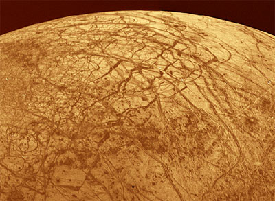 The icy surface of Europa, the moon of Jupiter as seen from the Voyager spacecraft in 1996