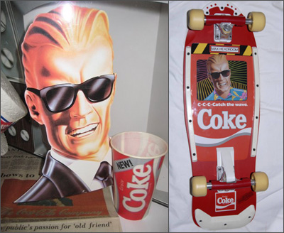 Max Headroom Coke Collectables: A point-of-purchase display and a skateboard!