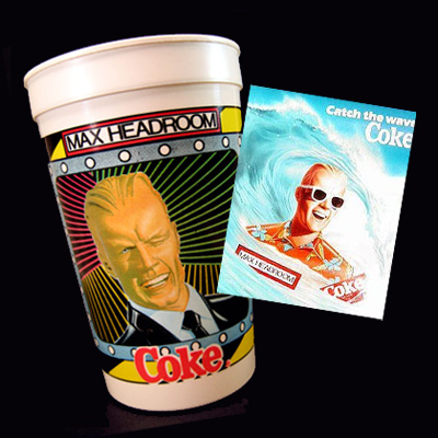 Max Headroom for Coke: A vintage plastic cup and a promotional poster