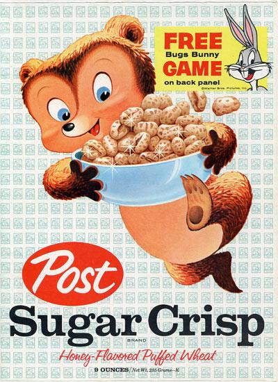Sugar Crisp cereal box from 1962