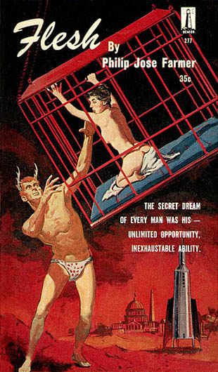 Flesh by by Philip Jose Farmer, Galaxy-Beacon 277, 1960 first printing, illustration by Gerald McConnell