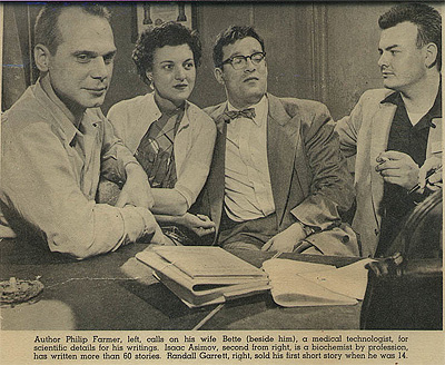 Philip Jose Farmer, his wife Bette, Isaac Asimov and Randall Garrett in 1954.