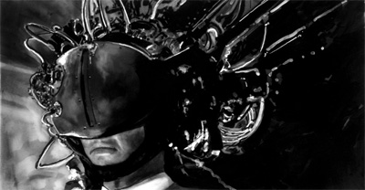 Study For Johnny Mnemonic - Johnny in Download Helmet, Robert Longo 1993