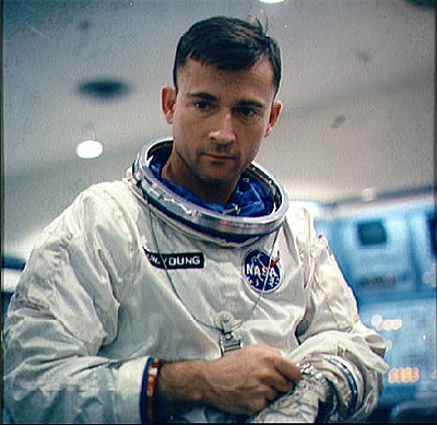 Astronaut John W. Young, the pilot of the Gemini-Titan 3 prime crew, is shown suited up for GT-3 pre-launch test exercises.