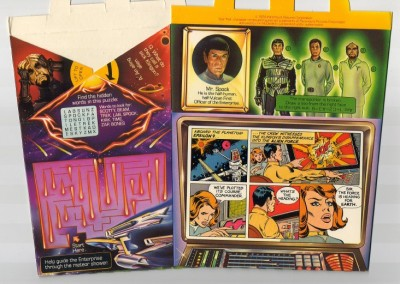 Star Trek McDonalds Happy Meal comic strips: 1979 Box features: Spock, Federation The crew of Station Epsilon 9 witness the destruction of Klingon ships by a cloud headed for Earth