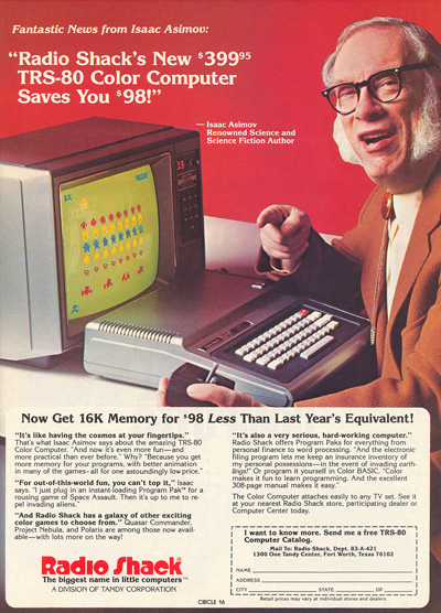 Asimov selling the Radio Shack TSR80 Color Computer