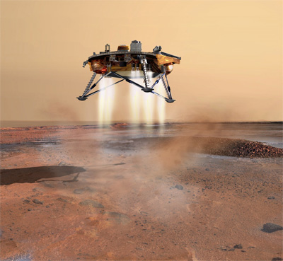 Illustration of the Mars lander by Corby Waste.