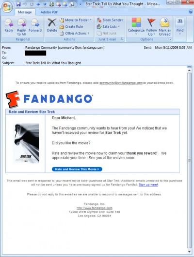 Fandango: We want your Star Trek review or we'll just keep spamming you some more!