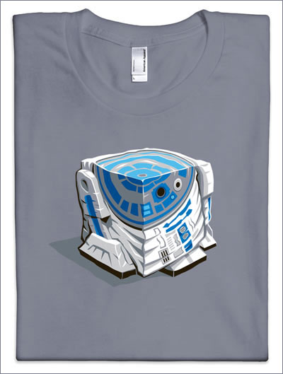 R2-D2 crushed into a cube on a t-shirt!