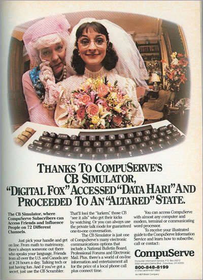 CompuServe ad which features a CB Simulator