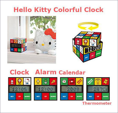 Hello Kitty Colorful Clock