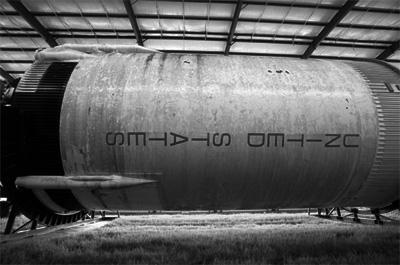 The rusting hulk of a Saturn V rocket