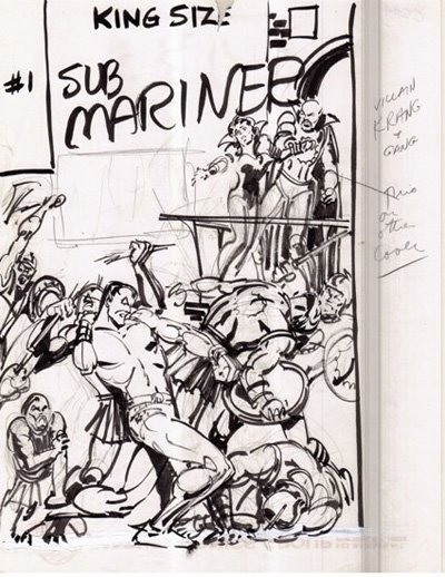 A rare layout sketch for a Sub Mariner cover by Marie Severin