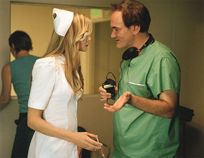 Quentin Tarantino on the set of Kill Bill with Daryl Hannah