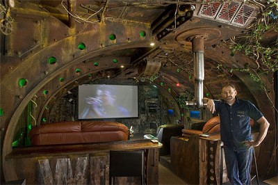 Dean Johnstone in the submarine-themed entertainment room he built for Wayne Eyre.