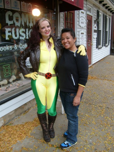 Amber Love as Rogue with volunteer Sharon Sebatian