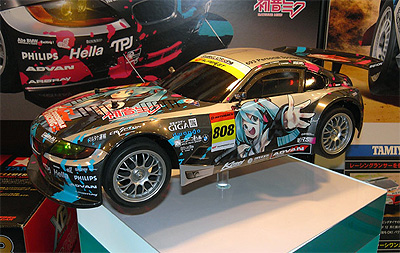 The Tamiya 1/10 Scale Radio Controlled Car featuring Hatsune Miku, the car is a BMW Z4