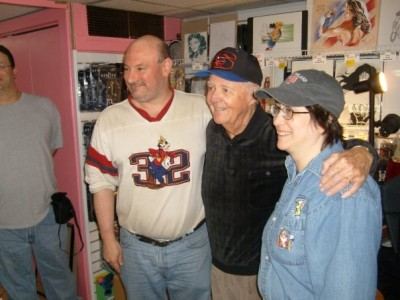 Comic Fusion owners Bill Meccia and Stacy Korn (sides) with Marvel legend Joe Sinnott (center)
