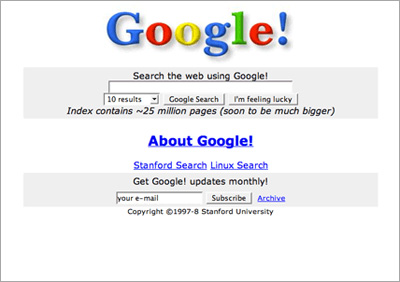 Original Google prototype from November 1998
