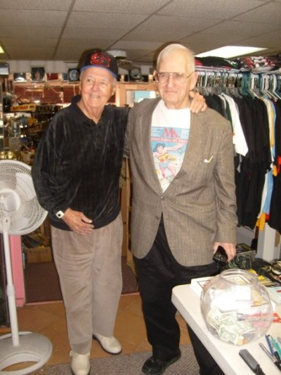 Illustrator Joe Sinnott with Pete Marston, the son of Wonder Woman creator William Moulton Marston