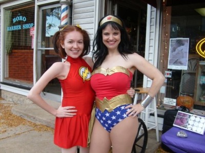 Jill Pantozzi as the Flash and Amber as Wonder Woman