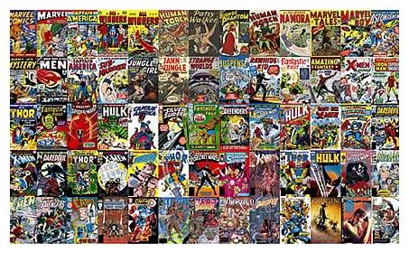 Marvel Comic Book Chair Rail Prepasted Wall Mural