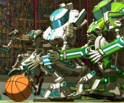 Basquash! robots playing basketball — because the mecha is so cheap!