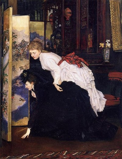 A painting by James Tissot showing French fangurls from 1869 checking out the latest from Japan.