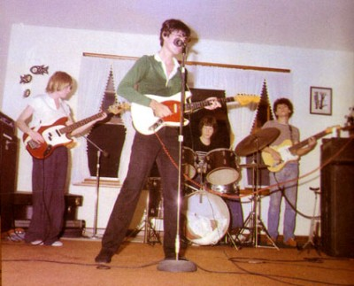 Above: These uncool dorks are ready to reinvent rock — a photo of the Talking Heads in the 70s.