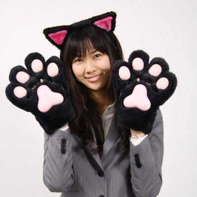 Thanko USB Warmer Cat Paw Gloves