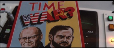 Time magazine cover from the film 2010 which features Clarke and Kubrick