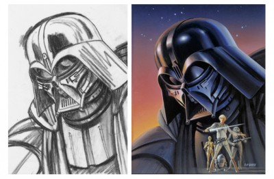 Ralph McQuarrie Darth Vader Concept from Sketch to Painting