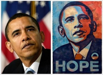 Shepard Fairey may have copied the Associated Press photo, but at least he made it into his own style.