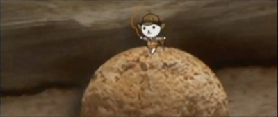 OHK the mascot for the Okayama Broadcasting Co. in an Indiana Jones promo