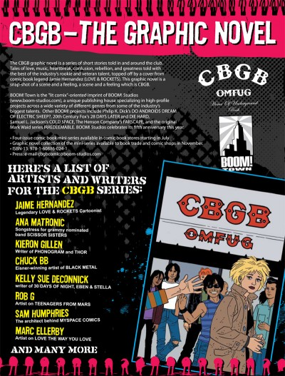 CBGB the Comic Book: Promo material