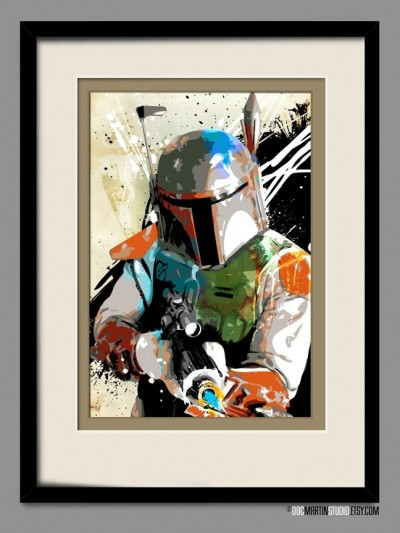 Star Wars BOBA FETT Pop Art style fan art illustration by Doc Martin