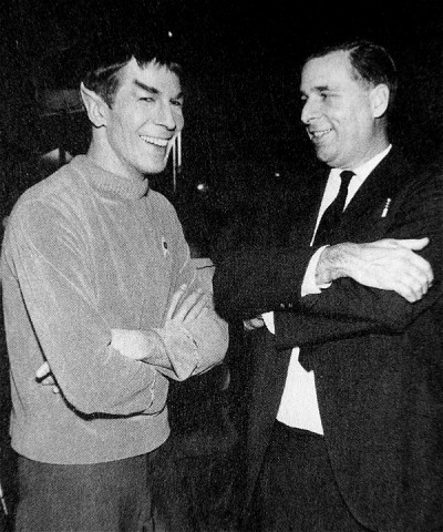 Leonard Nimoy shares a laugh with Gene Roddenberry
